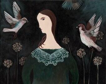 The Sparrow girl - limited edition giclee fine art print
