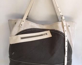 Large military canvas and leather bag, tote bag, handbag, shoulder bag