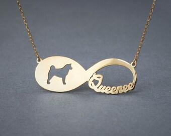 14k Solid Gold INFINITY AKITA Necklace • Akita Inu • Name Necklace • Custom Necklace • Akita necklace • Dog Necklace • Akita Gift