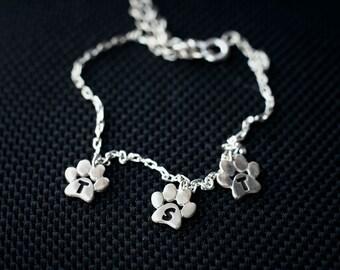 PERSONALISED Small Paw Bracelet • Paw Bracelet • Dog Paw • Cat Paw • Paw • Paw Jewelry • Paw Print • Silver Paw • Silver bracelet • Jewelry