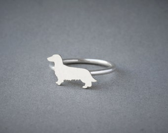 DACHSHUND LONGHAIRED RING / Doxie Longhaired Ring / Silver Dog Ring / Dog Breed Ring / Silver, Gold Plated or Rose Plated.