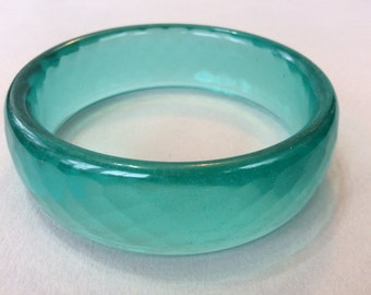 New Price*Teal Blue/Green Faceted Glass Bangle Bracelet