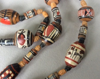 Southwestern Terra Cotta Hand Painted Bead Necklace