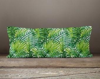 Bolster Pillow | Palm Leaf Pillow | Body Pillow | Body Pillow Cover | Long Pillow | Body Pillow Case | Body Pillowcase | Log Cabin Decor