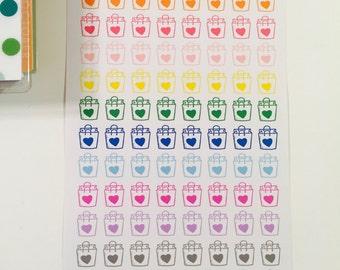rainbow heart shopping bags