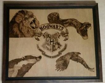 Hogwarts Coat of Arms Woodburning