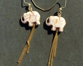 White Elephant Dangle Earrings