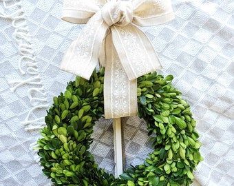 """16"""" 14"""" Preserved Boxwood Wreath, Green Wreath, Small Wreath, Indoor Wreath, Country Wreath, Simple, Christmas, Modern Summer Year Round"""