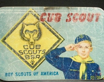 1964 Boy Scouts Of America Cub Scouts Membership Card  Raytown Missouri Troop 285