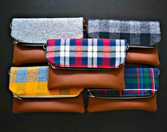 Plaid foldover crossbody purse, fall foldover bag, fall crossbody bag, vegan leather crossbody, fall purse, autumn purse, fall