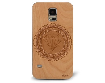 Laser Engraved Mandala Doodle Inspired Pattern Diamond Bling on Genuine Wood phone Case for Galaxy S5, S6 and S6Edge S-035
