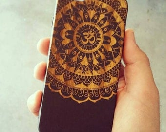 Laser Engraved Tribal Mandala Om Symbol Floral Doodle Zentangle Inspired Pattern on Wood phone Case for iPhone 5/S, 6/S and 6 plus IP-037