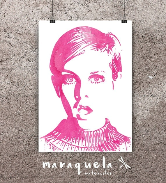 TWIGGY Surprise illustration, pink color poster, Pop art style London model art print wall 1960's fashion icon Celebrity Portrait watercolor