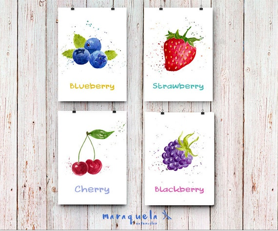 DISCOUNT SET OF 4 Fruits in Watercolor, Blackberry, Strawberry, Blueberry Cherry. kitchen Decor,berries fruits print, wall art decor print