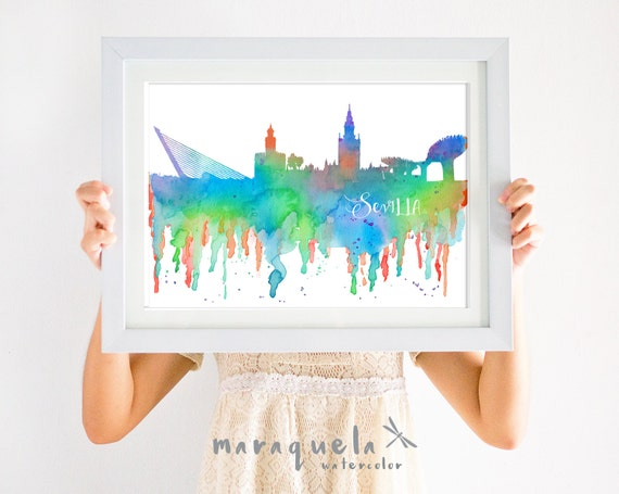 SEVILLE Skyline ANDALUSIA Spain, COLORFUL hues watercolor, affiche Sevilla trip Spain wall art print home, poster gift decor city España