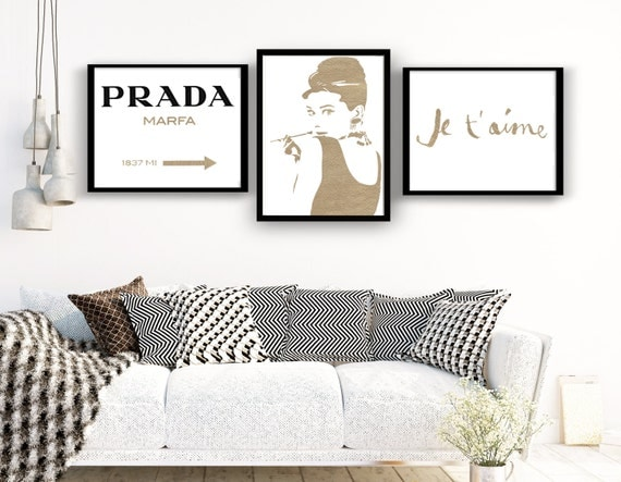 Set GOLDEN Discount Set: Prada Marfa, Audrey Hepburn, Je t'aime. Prada Marfa Sign Gossip Girl, Hepburn, fashion decor gold set, wall prints