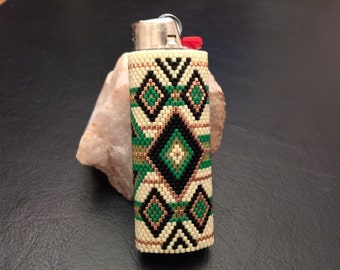 "Beaded BIC Lighter Cover Native American Design ""Diamond Weave"""