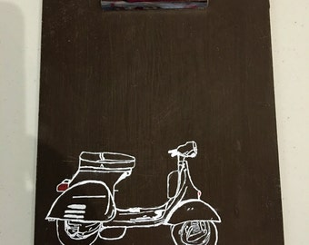 Chalkboard Vespa clipboard