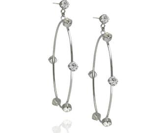 Everyday Earrings Swarovski Crystal Earrings Dangle Earrings Loop Earrings Everyday Earrings Silver Earrings Swarovski Earrings