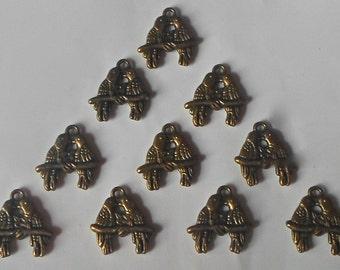 10 x Vintage Steampunk Antique Bronze 3D Dove Love Birds Beads/Charms/Pendants -18mm CH26