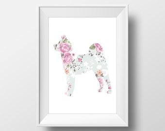 Floral Akita Print, Akita Print, Akita art, Dog decor, Dog lover gift, Akita Wall Art