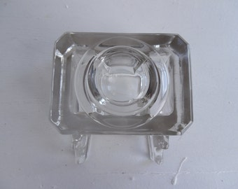 Glass ink well and pen rest paperweight / paper weight 1930's, heavy