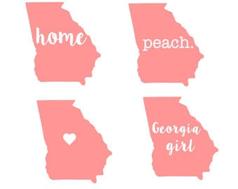 Georgia Girl/Home/Peach/Heart Vinyl Decal