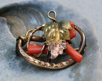 Vintage Branch Wrapped Genuine Coral and Gold Brooch/Pin