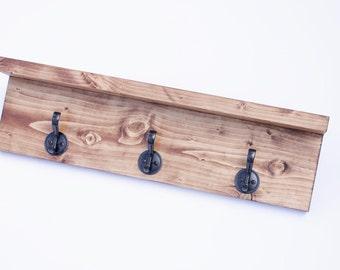 Coat rack shelf, Wall coat rack, Coat Rack, towel rack, 3 hook, entryway organizer, rustic wood coat rack, rustic wood