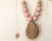 Wood pendant teething/ nursing necklace
