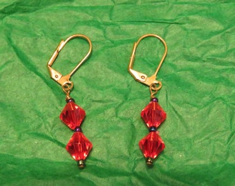 "Retro ORANGE Diamond Shape Plastic Drop EARRINGS, Gold Tone Pierced, 1.5"" long (#775)"