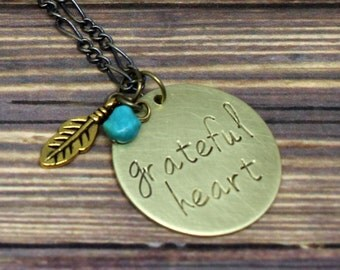 Grateful Heart Necklace, Feather Necklace, Jewelry with Meaning, Gold Necklace, Handstamped Necklace, Hand Stamped Jewelry, Bohemian Jewelry