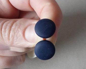 Navy blue stud earrings, navy blue polymer clay stud earrings, navy blue earrings, polymer clay jewellery/jewelry, minimal studs, FREE ship