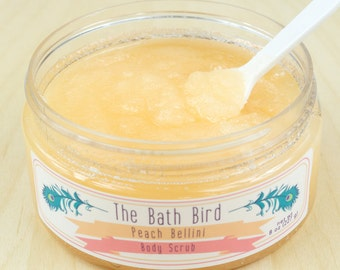 Peach Bellini Body Scrub, Sugar Scrub, Peach Scrub, Body Polish