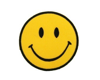 Smiley Happy Smile Face Embroidered Applique Iron on Patch