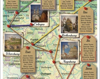 Personalised Honeymoon Road Trip Map Wedding Table / Seating Plan Large Print OR Canvas A1 A2 A3