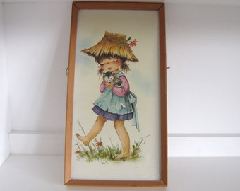 Vintage Kitsch Girl with kitten picture 1960s