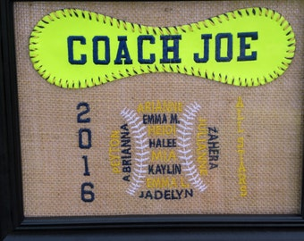 Custom Embroidered Softball Coach Gift
