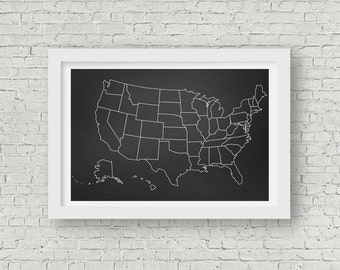 Chalkboard Map Etsy - Us map chalkboard