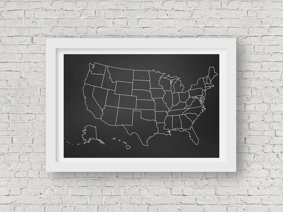 Chalkboard Classroom United States Map Poster Printable Up To - Us map poster printable
