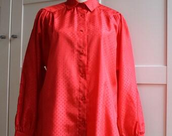 Vintage Women's Red Shirt Womens Shirt Long Sleeve Shirt/ Blause 80s Vintage Puffed Sleeve