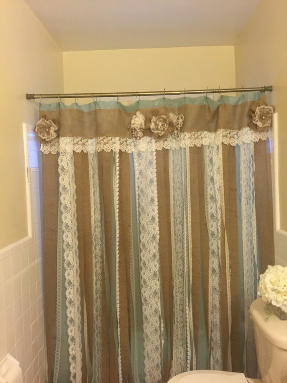 72 SHABBY Rustic Chic Burlap SHOWER Curtain Lace by ...