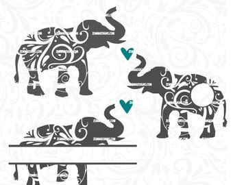 Elephant svg file - Elephant cut file - elephant monogram svg - elephant png - svg files - Elephant bundle -cutting file - elephant clipart