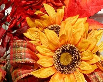 Sunflower Grapevine Wreath, Sunflower Fall Wreath, Fall Decor, Front Door Wreath