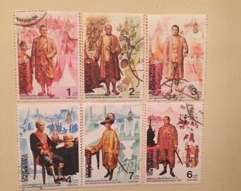 Rattanakosin Bicentennial vintage stamp set, Thailand 1982