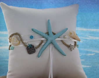 Turquoise Starfish with Seashell Ring Bearer Pillow/ Beach Themed Wedding