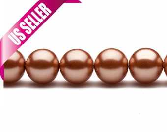4-16mm rose gold round glass pearl 4mm 6mm 8mm 10mm 12mm 14mm 16mm