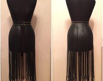 """Leather fringe skirt """"Kylie Jenner skirt"""""""