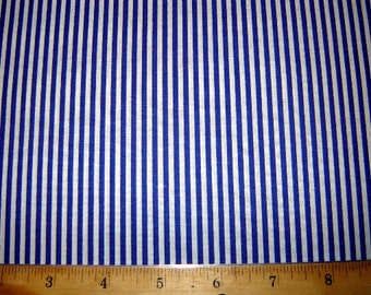 """20"""" Blue and White Stripe Fabric Remnant/End of Bolt 1396"""