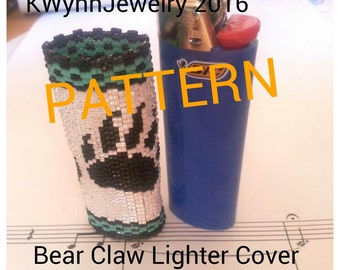 Pattern for Bear Claw Lighter Cover 2 Drop Peyote Beaded BIC Lighter Case PATTERN